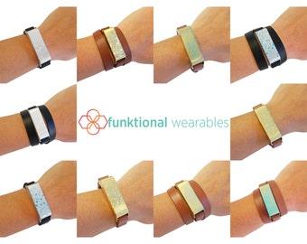 SALE Fitbit Bracelet for Fitbit Flex Fitness Trackers - KATE Paint Splatter Metal & Vegan Leather Wrap or Single Strap Buckle Fitbit Bracele