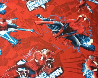 Spiderman Cotton Fabric Spiderman Electric Toss Red 100% Cotton Character Fabric
