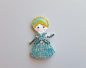 "Rhinestone Cinderella Embellishment 2""X3"" Cinderella Pendant Princess Pendant Flat Back Embellishment"