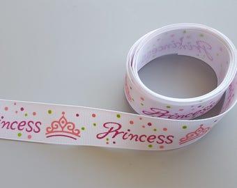 "1"" Princess Crown Tiara Grosgrain Ribbon Pink Princess Crown Ribbon 2 Yards"