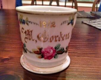 vintage floral 1912  m gorden shaving mug
