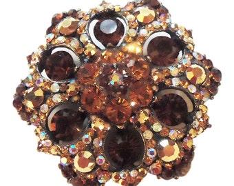 Barrera Amber Rhinestone Brooch/Pin Vintage 1980 Jose and Maria Barrera Original Crystal Design