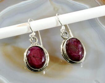 Ruby  and Silver Earrings  -- 2227
