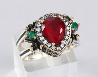 Women Ring Reversible And Double Sided Emerald Ruby Stone In 925 Sterling Silver Size 7 or 8