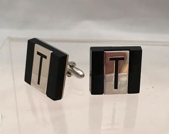 Vintage Initial T Cuff Links. SWANK Silver and Black Monogrammed Letter T. Gift for Groom. Wedding Jewelry. Father's Day Gift. Gift For Man