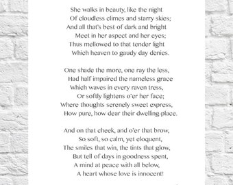 Lord Byron - She Walks In Beauty - Inspiring Poem - Art Print - A4 Size