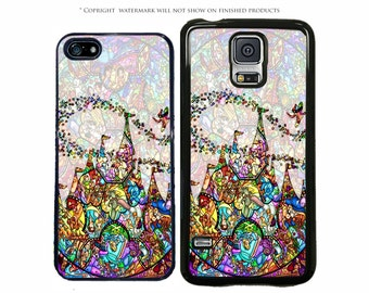 Disney Castle Stained Glass World of Characters For All Apple iPhone 7, 7 Plus, Samsung Galaxy S8, S8 Plus, S7, S7 Edge, LG, Google Pixel