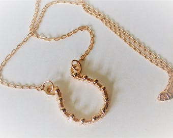 14ct goldfill wire wrapped horse shoe pendant with 14ct goldfilled beads