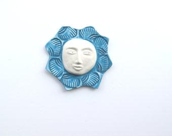 Ceramic Sun ~Teal ~blue wall sculpture ~sun ~ceramic wall art~ Ceramic ~Ceramic Wall Sculpture ~wall art ~Whimsical ~Blue Wall Sculpture