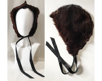Antique Fur Bonnet // Victorian Quilted Fur Bonnet W/ Purple Silk Velvet Trim & Grosgrain Chin Straps // Vintage Brown Beaver Fur Hat