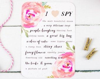 Wedding I Spy Game - Digital Download - Wedding Reception Game - Rustic Pink Floral Wedding I Spy Game - I Spy Download