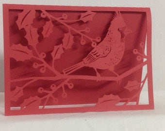 Red Cardinal Bird , PaperCut , Christmas  , Holiday , Holy , Berries , Friends , Family , Winter