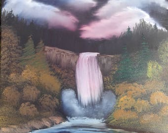 Evening waterfall oil painting