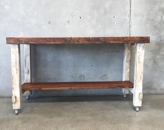 Restored Rustic Farmhouse Work Bench on Wheels (DXJB9Z)