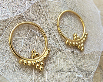 Gold Plated Hoop Earrings, Tribal Hoop Earrings, Handmade Gold Earrings, Small Hoop Earrings, Tribal Jewelry, Boho Hoop Earrings
