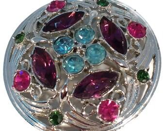 Vintage SARAH COVENTRY Spring Time Brooch Pin Rhinestone Purple Aqua Blue Green Silver Tone