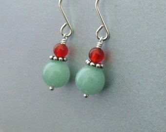 Green and orange stone earrings, Carnelian Aventuring semi-precious beads, Sterling Silver, simple stone jewelry
