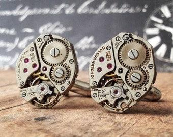 Silver Cufflinks, Steampunk, Cufflinks Watch Part Cufflinks, Bulova Watch, Steampunk Jewelry, Watch Movements, Silver Watch, Men's Jewelry