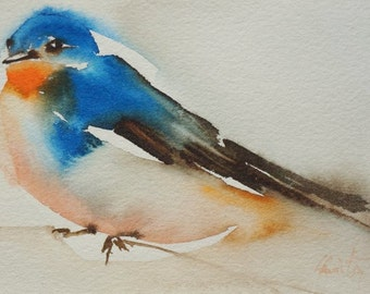 Original watercolor bird swallow 1