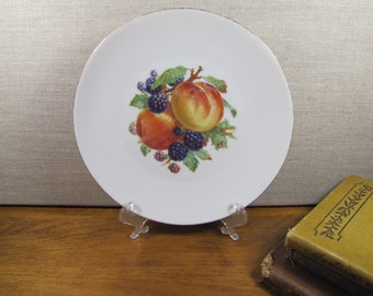 Bareuther - Waldsassen - Fruit Plate - Peaches and Blackberries - Gold Accent - Smooth Rim - Made in Bavaria, Germany