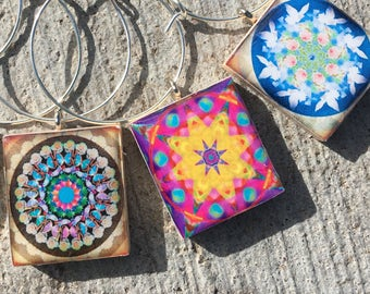 Namaste Mandala Wine Charms, Scrabble Tile Wine Charms, Wine Lovers Gift, Wine Markers