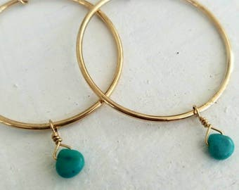 Gold hoops: petite turquoise