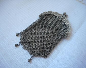 stunning vintage French solid silver coin purse / porte monnaie purse