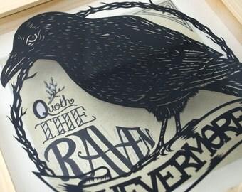 Raven paper cut, gothic paper cut, Nevermore paper cut, Poe paper cut, raven box frame