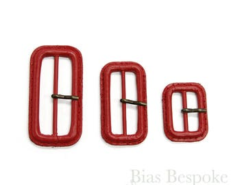 Scarlet Red Leather Buckles in Three Sizes, Made in Italy