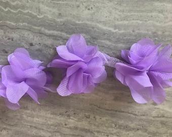 Lavender  chiffon flower trim 1 yd