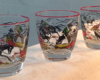 Vintage Mid Century Libbey Cowboy Glasses, Cowboy Drinking Glasses