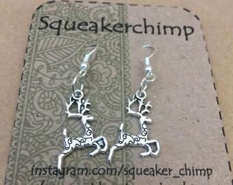 Reindeer Earrings, Reindeer Jewelry, Rudolf Earrings, Silver Christmas Earrings, Festive Earrings, Christmas Reindeer, Christmas Jewelry