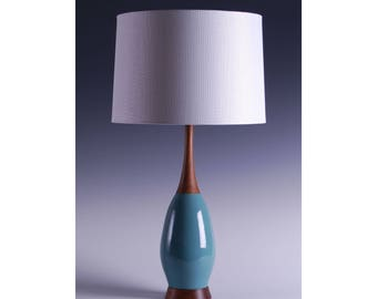 Mid Century Modern inspired Ceramic Lamp with Walnut Base and Neck (Pair)
