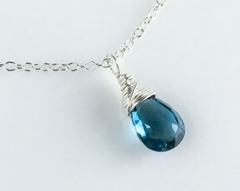 Dainty Birthstone Necklace - London Blue Topaz Necklace - December Birthstone Necklace - Sterling Silver