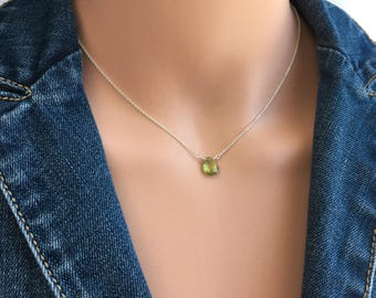 Peridot Necklace - Dainty Birthstone Necklace - August Birthstone Necklace - Sterling Silver, Gold, Rose Gold