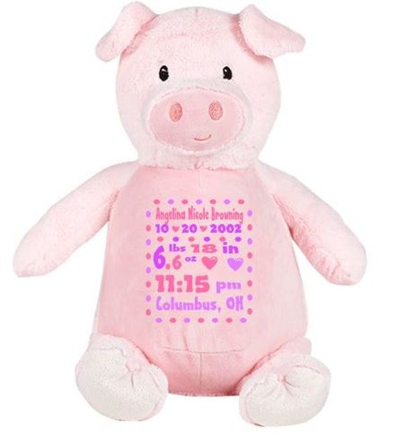 Personalized Plush-  Stuffed Pig Baby Gift - Custom Birth Stat Gift - Newborn Prop - Pink Plush Pig - Adorable Pig - Gift for new Mommy