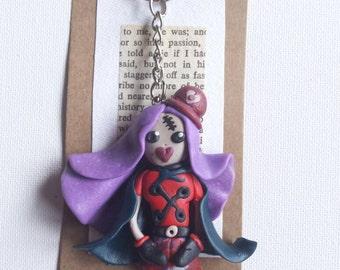 Handmade Polymer clay Gothic Girl keyring