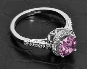 alexandrite ring, alexandrite engagement ring, purple stone ring, alexandrite engagement ring, halo ring, june birthstone jewelry