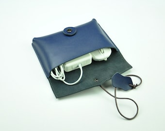 Blue leather Cord Keeper for Charger Cord and Ear Buds,Charger organizer,Leather Bag,Wrapped Leather Pouch,Make-up Case, Travel pouch-098