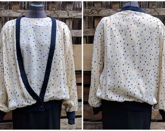 Vintage 1980's RAFFINATI Cream Ivory With Yellow and Navy Blue 100% Silk Blouse and Cardigan Set Size Large