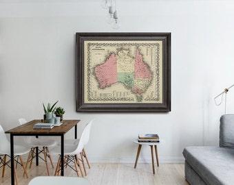 Australia Map 1869, Australia Old Map, Continents Old Maps, Vintage Map of Australia, Australia Map, Home Decor- CP054