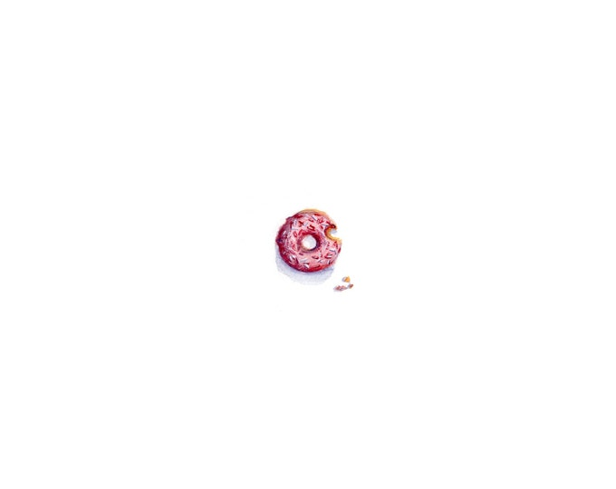 Original Miniature painting of the Donut tiny painting, Donut tiny art 5 x 5
