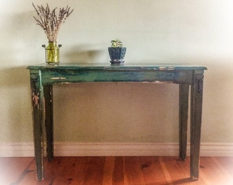 Antique, Farmhouse Table, patina, hook accents, solid pine, entryway table, shabby chic, sofa table, distressed, green, blue, vintage, table