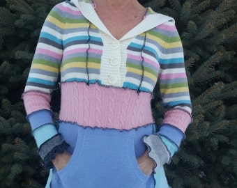 Fun, Recycled Sweater Hoodie