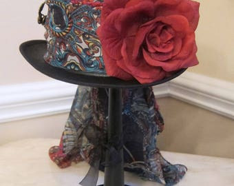 Black Top Hat Stevie Nicks  Inspired - Blue and Red