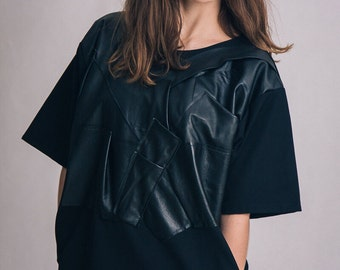 Leather detail black dress / Woman's leather short dress / Oversized fashion dress / Fasada 1611