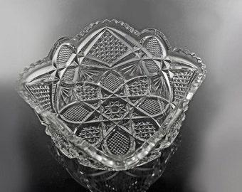 Antique EAPG Square Bowl, US Glass, Pennsylvania Pattern, Circa 1898, Square Nappy, Pressed Glass
