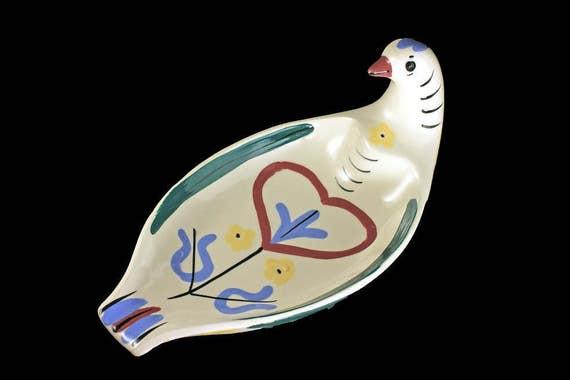 Bird Bread Tray, California Cleminsons, Distlefink White, Heart Design,  Hard to Find Collectible, Centerpiece, Handpainted
