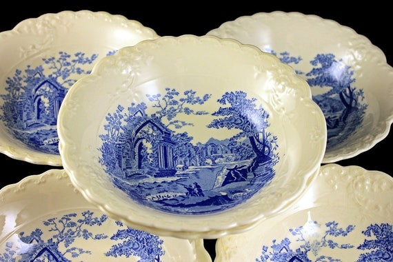 Coupe Cereal Bowls, Taylor Smith & Taylor, English Abbey, Fairway, Fruit Bowls, Sauce Bowls, Embossed, Hard to Find, Fine China, Set of 6