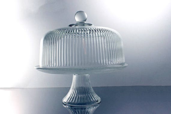 Covered Cake Stand, Anchor Hocking, Monaco Pattern, Ribbed Clear Glass, Punch Bowl, Dessert Stand